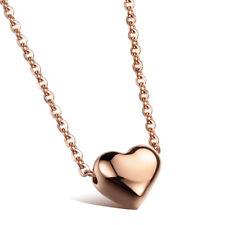 Lovely Womens Heart Shape Pendant Stainless Steel Rose Gold Choker Link Necklace