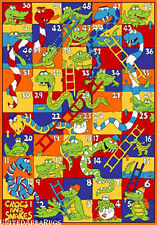3x5 Rug Crocs and Snake Kids Play Game Time Snakes and Ladder w non Skid Back