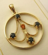 GENUINE 9K 9ct SOLID GOLD EDWARDIAN DESIGN NATURAL SAPPHIRE CITRINE Pendant