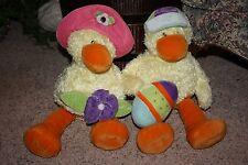 "Easter 2 GUND NURSERY RHYME Plush Yellow Ducks Large 18"" Boy & Girl Stuffed #Z2"