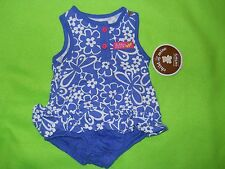 NEW ~ Child of Mine by Carters Sleeveles Sunsuit ~Size 0-3 M ~ Blue Floral Print