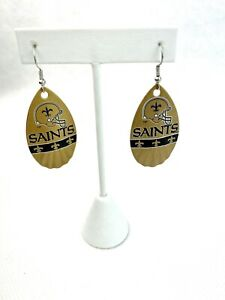 NFL New Orleans Saints Gold Logo Vintage Teardrop Spinner Women's Hook Earrings