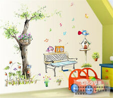 Garden Music Birds Home Room Decor Removable Wall Stickers Decal Decoration
