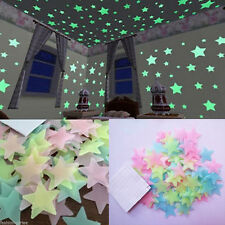 100pcs Pack Glow In The Dark 3D Stars Moon Stickers Bedroom Wall Room Decor New