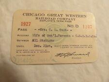CGW CHICAGO GREAT WESTERN RAILROAD 1927 CARD PASS #D1247 - TEST - C.G.W.R.R.CO.