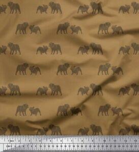 Soimoi Brown Cotton Poplin Fabric Bull Dog Print Fabric by the Yard-7XR