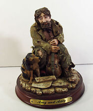 AMY AND ADDY CO - RESIN FIGURINE ON WOOD BASE - DRIFTER WITH DOG AND VIOLIN