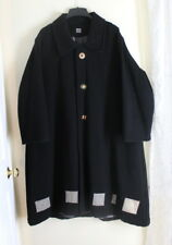 Blue Fish Black Wool A-Line Very Oversized Coat - Hand-Painted Patches 0 1 2 3