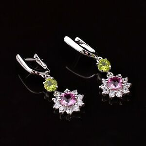 Natural Pink Sapphire Stone 925 Sterling Silver Women Designer Dangle Earrings