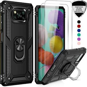 For Xiaomi Poco X3 Pro Case, Shockproof Ring Stand Phone Cover + Tempered Glass