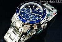Invicta Men's 48mm Pro Diver SCUBA Chronograph Silver Tone Blue Dial SS Watch