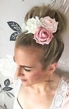 Rose paillettes ivoire rose fleur cheveux perle triple corsage choochie nuptiale bride