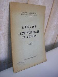 Louis-Ch. Barthélemy : Résumé de technologie de l'ORGUE 1943