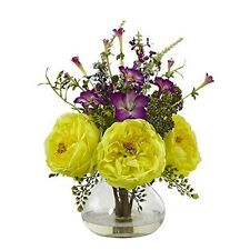 Nearly Natural 1413-YL Rose and Morning Glory Arrangement with Vase NEW