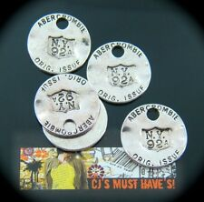5 Argento Antico Cerchio ID Dog Tag ciondolo disco Charms ZIP BAG tag per gioielli