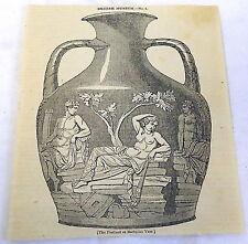 1832 magazine engraving ~ BARBERINI VASE British Museum