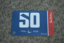 TIM HORTONS GIFT CARD 2020 VANCOUVER CANUCKS 1970-2020 50 YEARS, NO VALUE , NEW