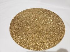"""x4 Sparkles Home Luminous Yellow Gold Crystals Round 15"""" Rhinestone Placemats"""