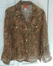 Hearts of Palm Womens Dressy Blouse Size 18 Olive & Red 3/4 Sleeve Button Down