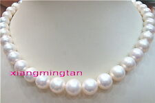 """AAAAA round real 18""""10-11mm NATURAL south sea white pearl necklace 14K GOLD"""