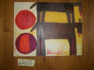 Folk Art Outsider Willie White painting African-American 2 Black Horse/sun  #7