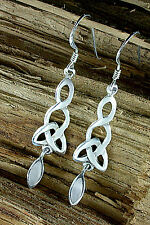 Sterling Silber 925, Keltischer Ohrschmuck mit Perlmutt, Ohrhänger, Ohrringe