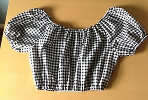 Black and white  gingham off the shoulder cropped top