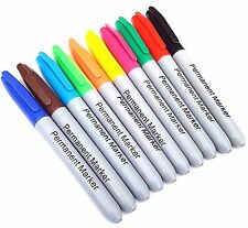 10 Pack Permanent Marker Pens Assorted Multi Colour Sharpie Fine Point Tip New