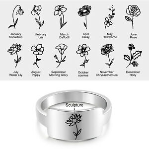 Personalized Stainless Steel 1-4 Birth Flower Ring Signet Promise Women Rings