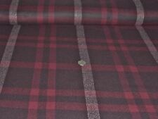 ITALIAN WOOL CHECK-BLACK/BURGUNDY/ECRU-SUITING FABRIC -FREE P+P