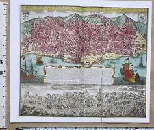Antique vintage historical map 1700s: Lisbon, Portugal 13 X 11.5 Reprint 1756c