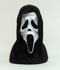 Halloween White Scream Face Mask With Hood Scary Fancy Dress