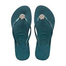 Womens Havaianas POEM Green Flip Flops Size 6/7