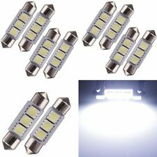 10x Dome Feston 36mm 3W 3 SMD 5050 LED Blanc Ampoule Navette Plaque Feux Voiture