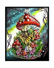 "23""x28"" Caterpillar on Mushroom Black Light Reactive Cloth Tapestry New"