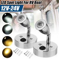 12-24V LED Reading Spot Light Bedside Wall Lamp Boat RV Van Caravan