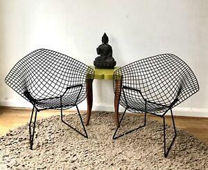 2 Early Rare Vintage Knoll Black Harry Bertoia Diamond Chairs Original Seat Pads