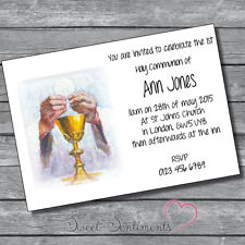 Pack of 10 Personalised 1st Holy Communion Invitations - A6 style 5 Glossy card