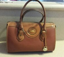 Dooney Bourke Classic Large Brown Pebbled Leather Satchel Handbag Purse •Vintage