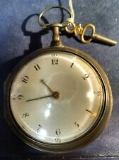1795 England Fusee Pocket Watch W/ Key Solid Silver Original Dbw