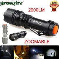 Sky Wolf Eye 2000LM Flashlight 3 Modes ZOOMABLE LED Torch Lamp Portable Penlight