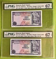 1976-81 Malaysia 3rd Series 1 Ringgit Last Prefix 2pc- Superb Gem Unc PMG67 EPQ