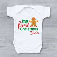 Personalised My First 1st Christmas Xmas Gingerbread Man Baby Grow Bodysuit
