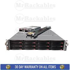 Supermicro 2U 12 bay X9DRI-LN4F+ Storage server 2x Xeon E5-2660 8 Core 64GB Rail