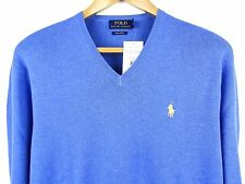NEW MENS 100% GENUINE RALPH LAUREN V-NECK COTTON JUMPER BLUE XXL RRP £110