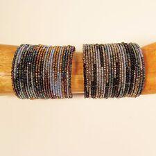 Set of 2 Blue Multi Color Block Beaded Wide Cuff Handmade Bracelet Glass Beads