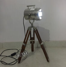 Vintage Decorative Electric LED Floor Light Lamp With Standing Tripod Woode