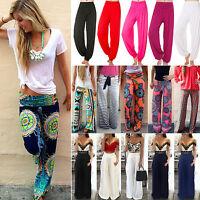 Womens Harem Long Pants Hippie Wide Leg Yoga Dance Boho Loose Palazzo Trousers