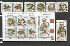 Gibraltar 2001 Snakes set & MS UM SG 960/MS967