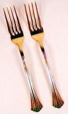 2 Golden Flair Dinner Forks Fork International Stainless Gold Electroplate 18-8